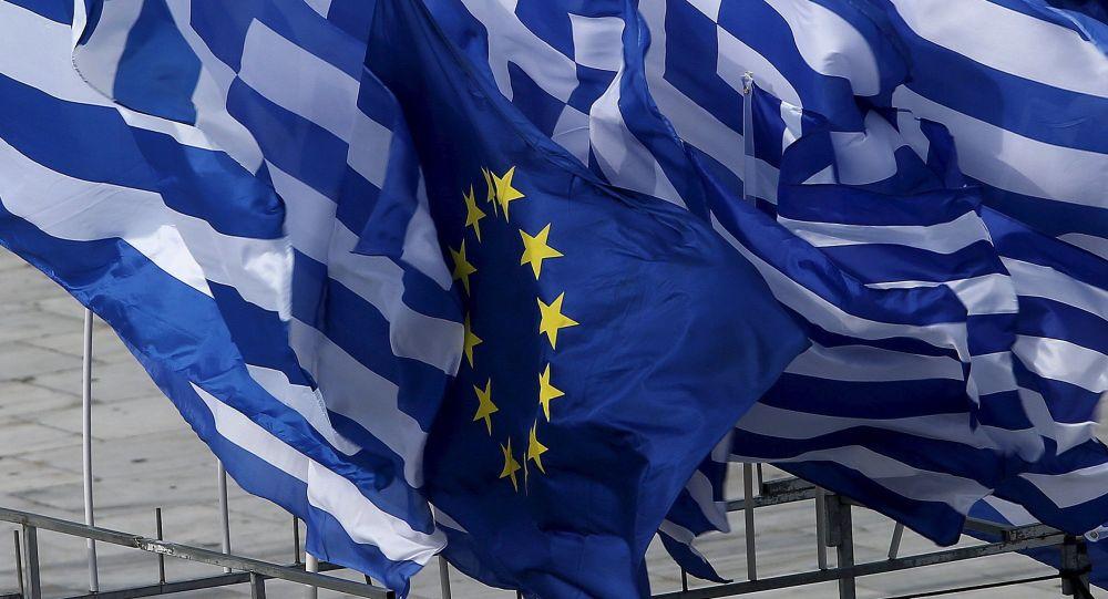 Flagi Grecji i UE