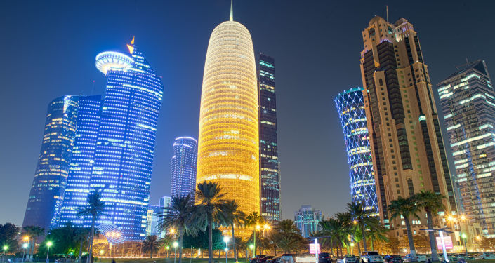 Nocny widok stolicy Kataru Dohy