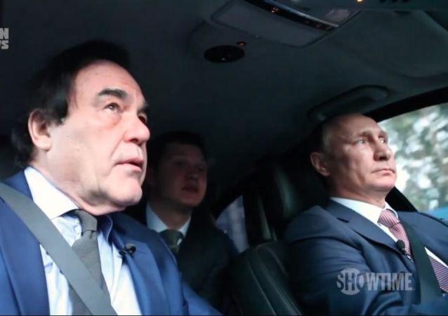 Kadr z filmu Olivera Stone'a Wywiad z Putinem