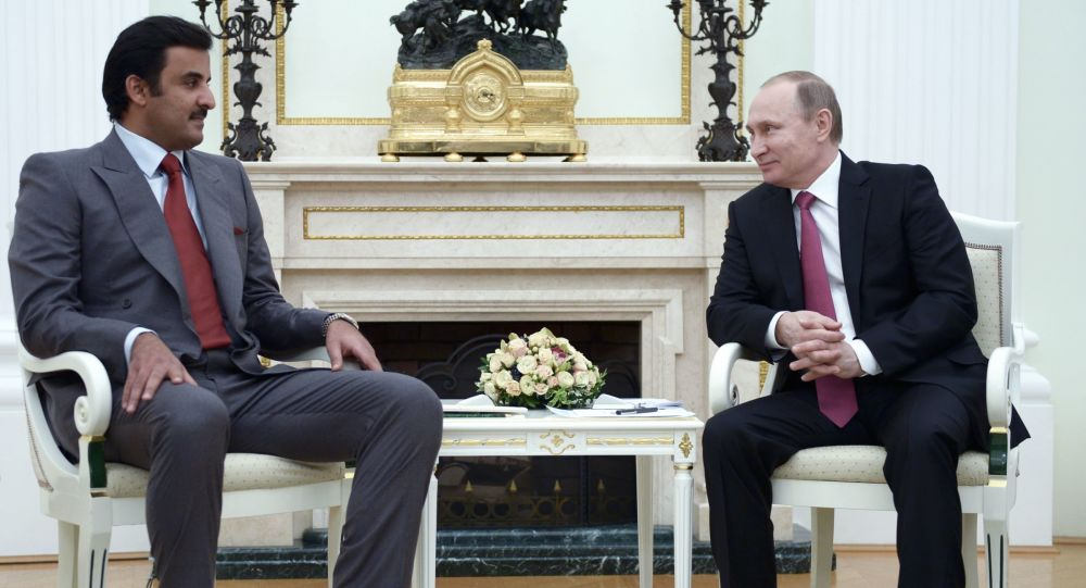 Emir Kataru Tamim bin Hamad Al Thanim i prezydent Rosji Władimir Putin na spotkaniu w Kremlu