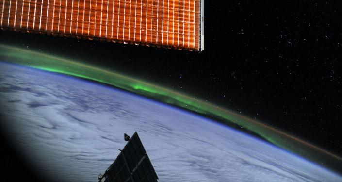 Zorza polarna. Widok z bortu Międzynarodowej stacji kosmicznej.