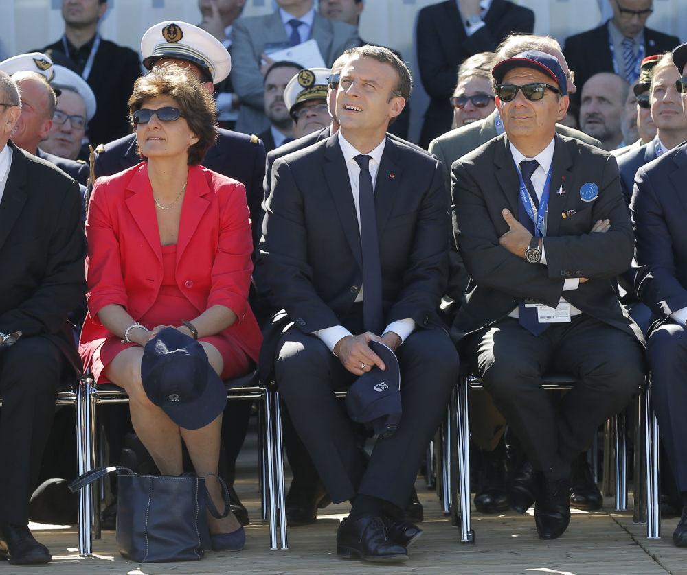 Emmanuel Macron na otwarciu wystawy