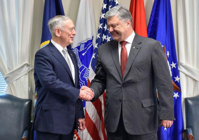 Prezydent Ukrainy Petro Poroszenko i sekretarz obrony USA James Mattis podczas spotkania