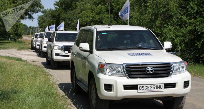 Patrole misji OBWE w miejscowości Sachanka w proklamowanej w trybie jednostronnym Donieckiej Republice Ludowej