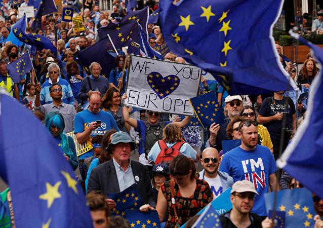 Demonstracja zwolenników Unii Europejskiej w Londynie