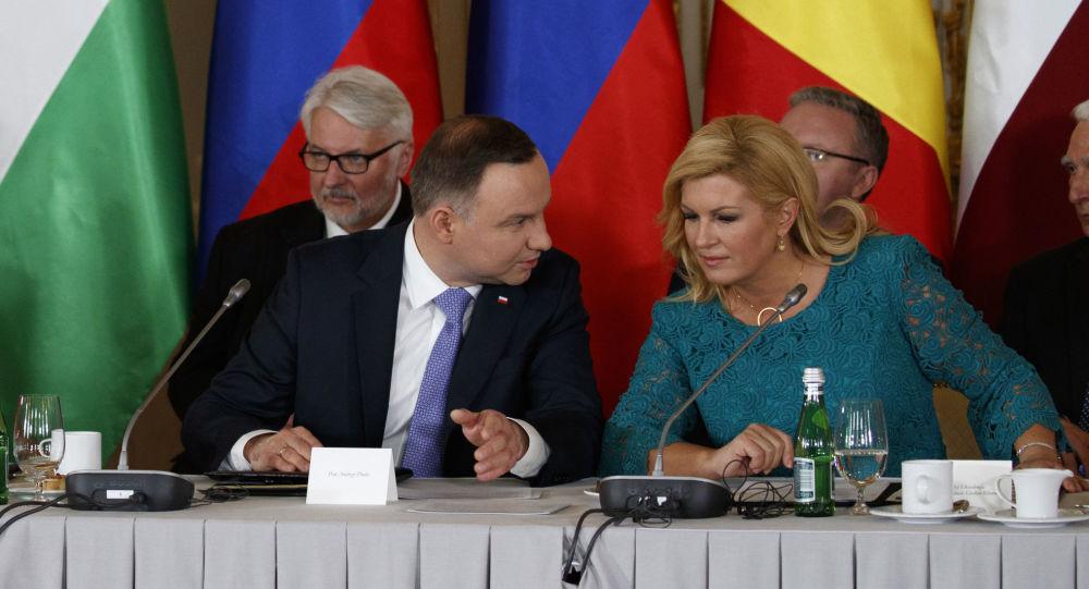 Donald Trump, Andrzej Duda i Kolinda Grabar-Kitarović na spotkaniu w Warszawie