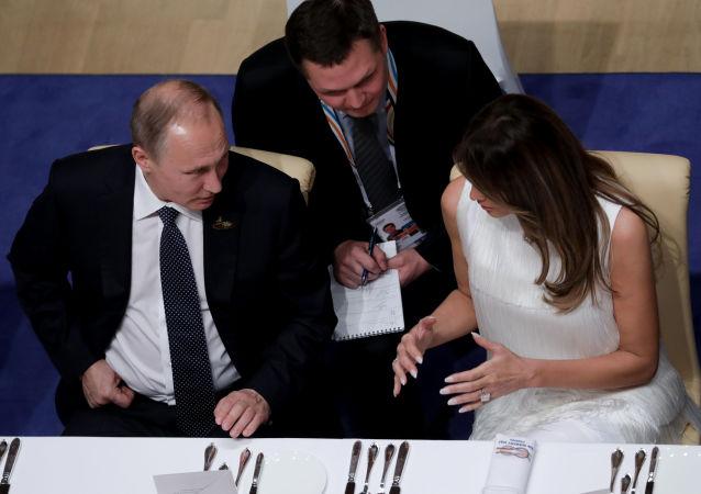 Władimir Putin i Melania Trump na szczycie G20 w Hamburgu