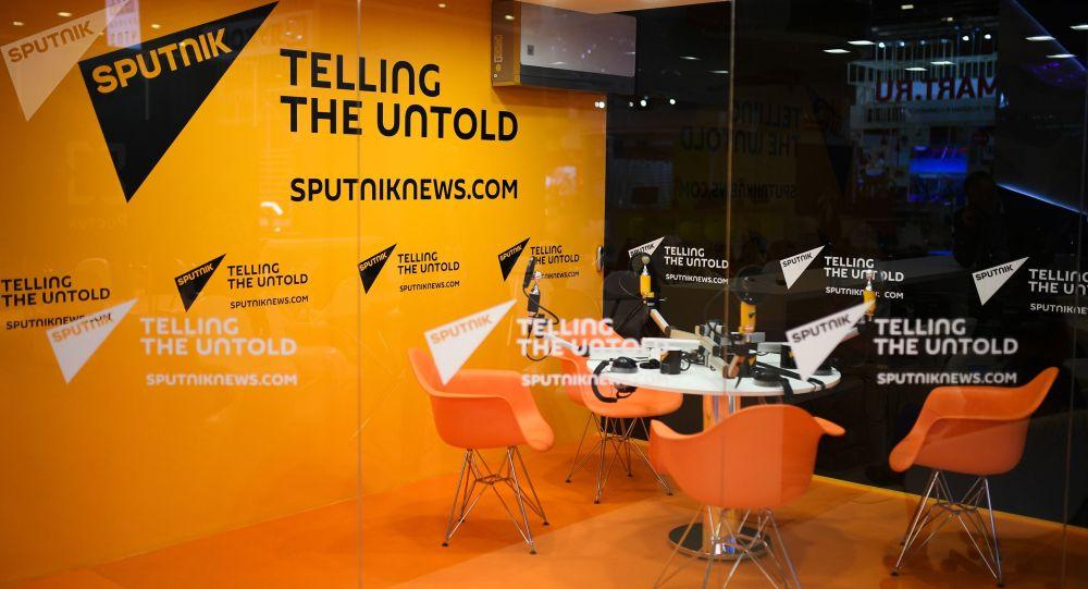 Studio radia Sputnik w Ekspoforum w przeddzień otwarcia Międzynarodowego Forum Ekonomicznego w Petersburgu-2017