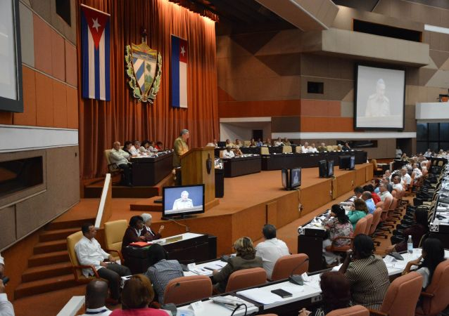 Kubański lider Raul Castro na posiedzeniu Zgromadzenia Narodowego Władzy Ludowej w Hawanie