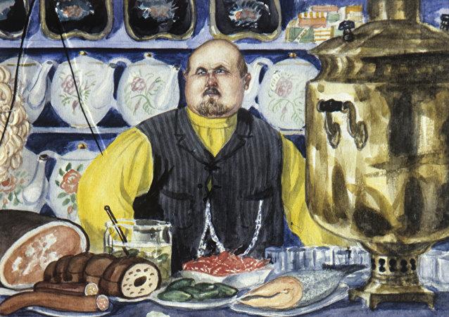 Obraz malarza Borisa Kustodijewa karczmarz. 1920 rok