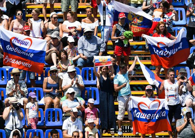 Rosyjscy kibice na XVII Mistrzostwach Świata w Pływaniu w Budapeszcie