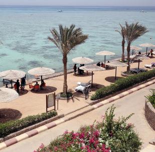 Plaża egipskiego hotelu Sunny Days El Palacio w Hurghardzie