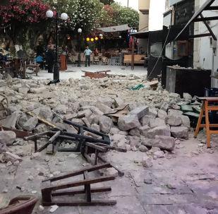 Zniszczenia po trzęsieniu ziemi na greckiej wyspie Kos