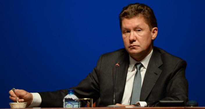 Przewodniczący zarządu Gazpromu Aleksiej Miller na konferencji prasowej spółki