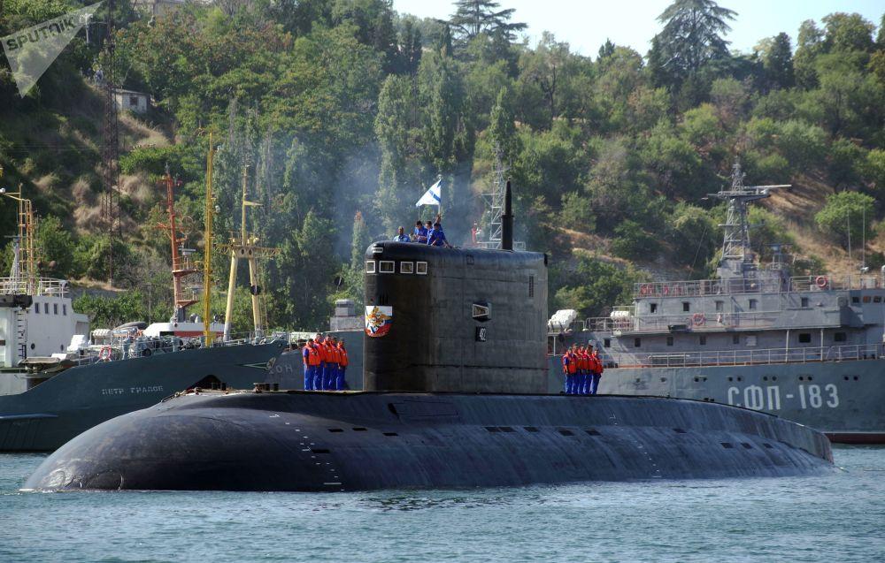 Powitanie nowego okrętu podwodnego Krasnodar w Sewastopolu