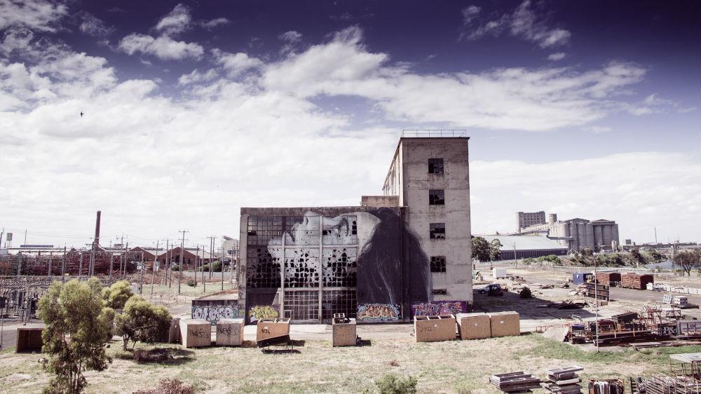 Portret kobiety australijskiego ulicznego artysty pracującego pod pseudonimem Rone, na ścianie opuszczonego budynku