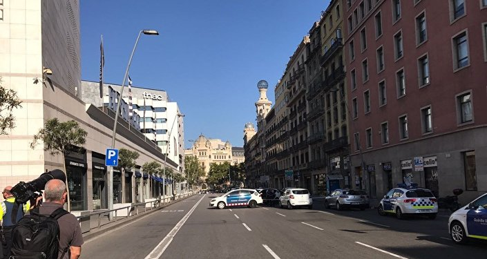 Miejsce staranowania tłumu ludzi w Barcelonie 17 sierpnia 2017 roku.