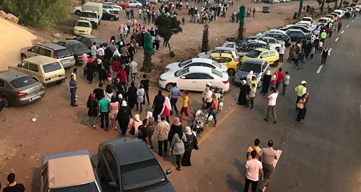 Goście międzynarodowej wystawy przemysłowej w Damaszku