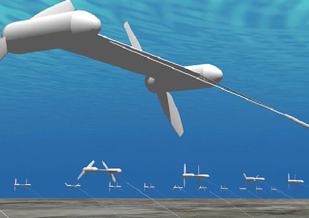 Graficzne przedstawienie instalacji służącej do wytwarzania energii elektrycznej z wykorzystaniem prądów oceanicznych w Japonii