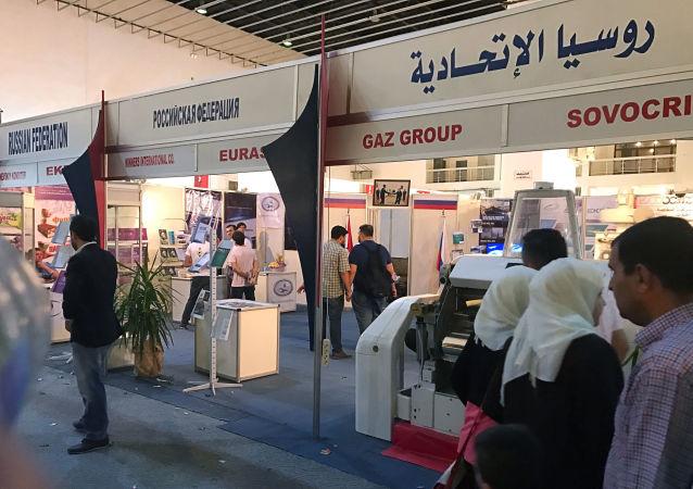 Goście u stoiska Federacji Rosyjskiej na Międzynarodowej Wystawie Towarów Przemysłowych w Damaszku