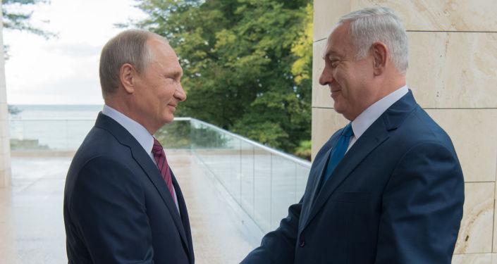 Prezydent Rosji Władimir Putin i premier Izraela Binjamin Netanjahu w czasie spotkania