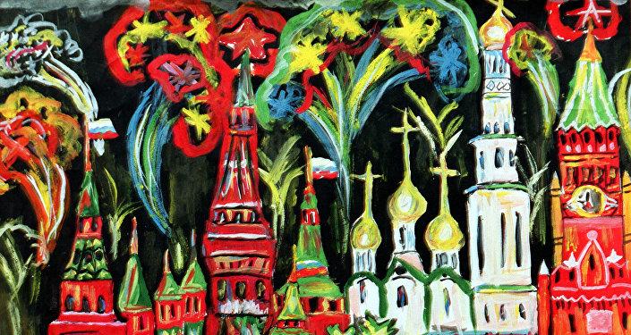 Obraz Pokaz sztucznych ogni. Autor Alik Kałmykow, 13 lat