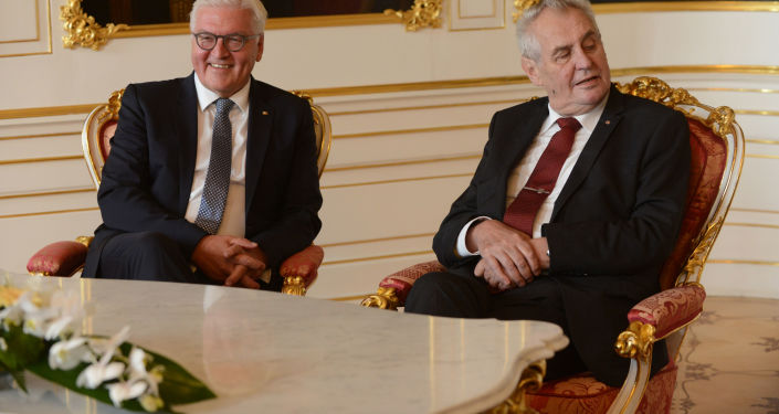 Prezydent Niemiec Frank-Walter Steinmeier i prezydent Czech Milos Zeman