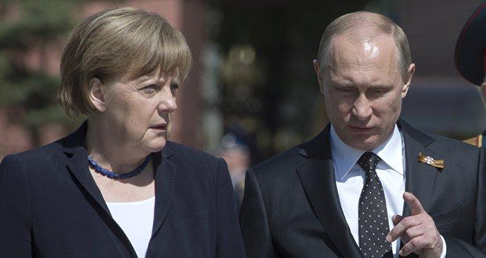Angela Merkel i Władimir Putin w Moskwie. Zdjęcie archiwalne