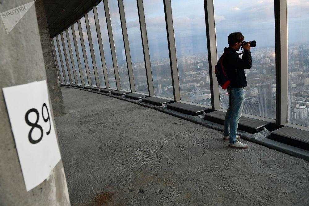 """89 piętro Wieży Federacja Wschód centrum biznesowego """"Moskwa-City"""", gdzie budowana jest najwyższa platforma widokowa w Europie"""