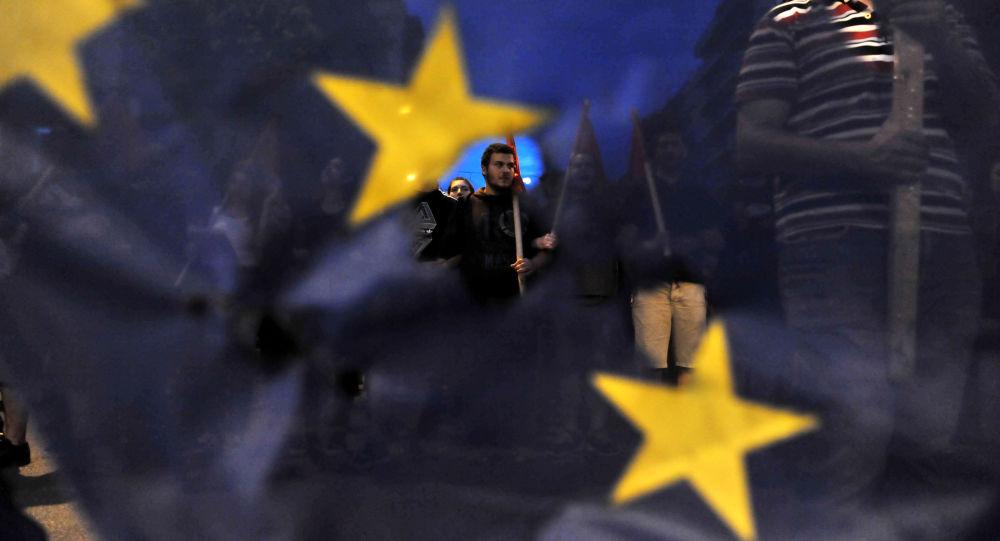 Protestujący w Grecji