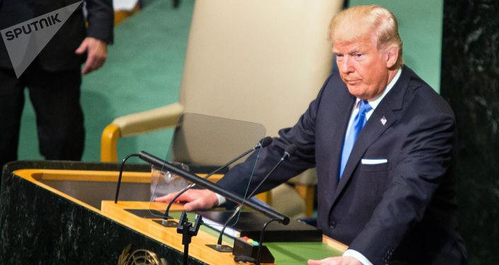Prezydent Stanów Zjednoczonych Donald Trump na posiedzeniu Zgromadzenia Ogólnego ONZ w Nowym Jorku