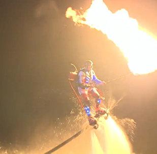 Show miłośników wodnych sportów ekstremalnych na Wołdze