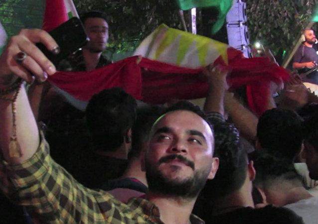 Kurdowie uczcili w Irbilu  przeprowadzenie referendum ws. niepodleglości Irackiego Kurdystanu.