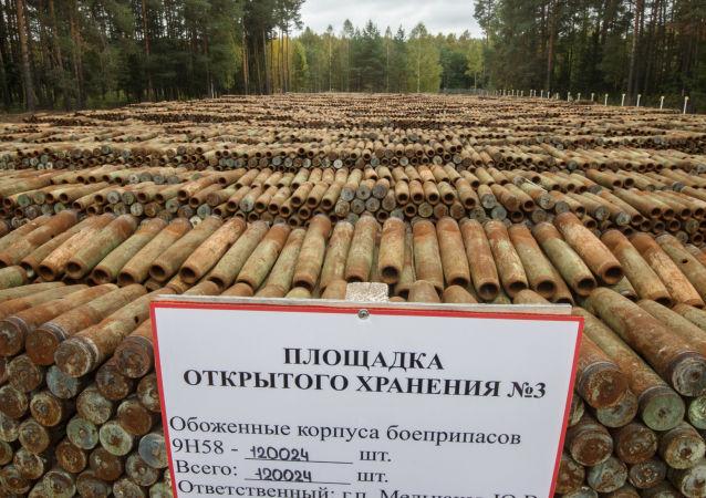 Wypalone pociski z substancjami trującymi przeznaczone do utylizacji w ramach programu likwidacji resztek broni chemicznej