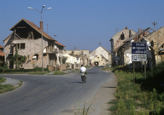 Zniszczone podczas wojny domy w mieście Vukovar, Chorwacja
