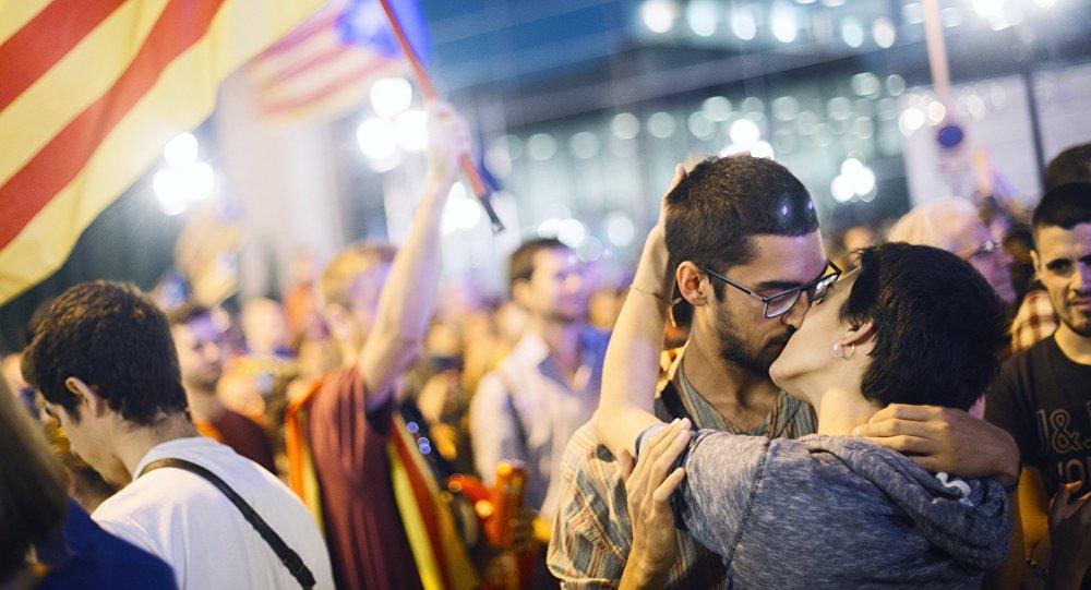 Akcja w Barcelonie poświęcona referendum niepodległościowemu w Katalonii.