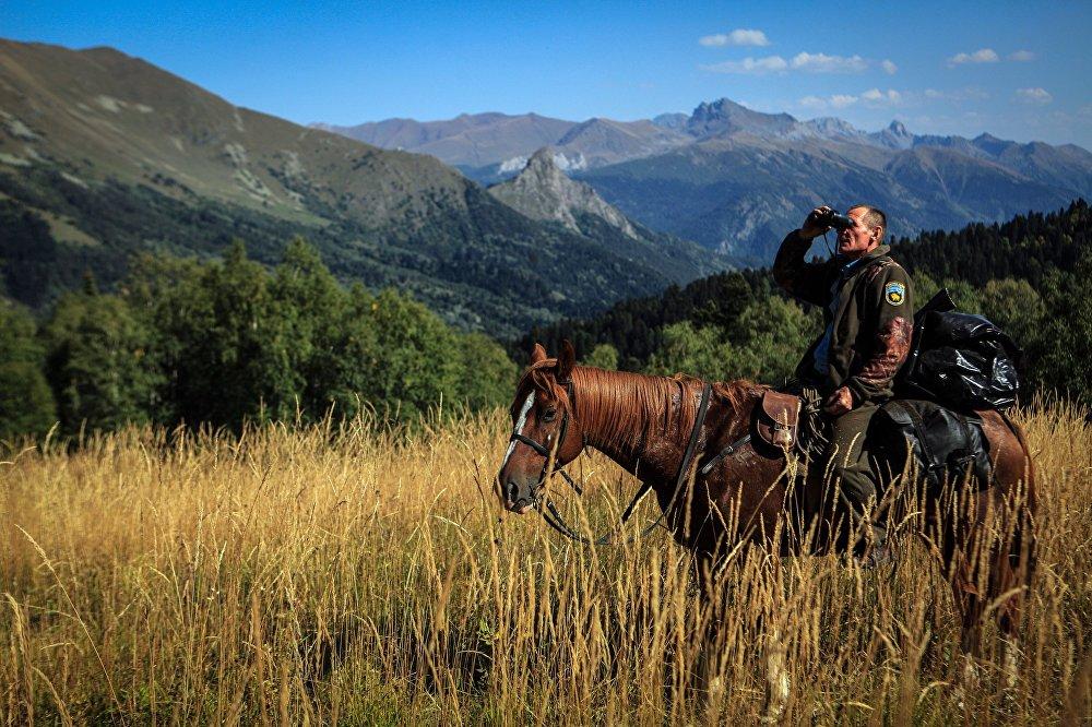 Inspektor państwowy na szlaku we wschodniej części Kaukaskiego Rezerwatu Biosfery (Republika Karaczajo-Czerkiesji).