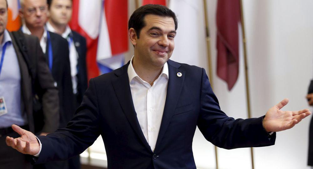 Premier Grecji Aleksis Tsipras po szczycie w Brukseli