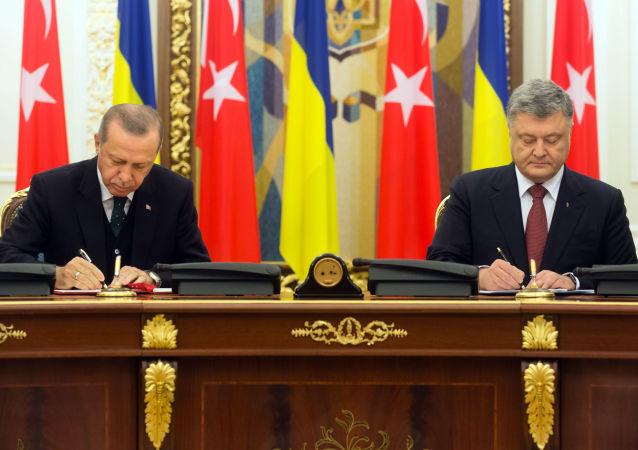 Prezydent Turcji Recep Tayyip Erdogan i prezydent Ukrainy Petro Poroszenko w czasie spotkania w Kijowie