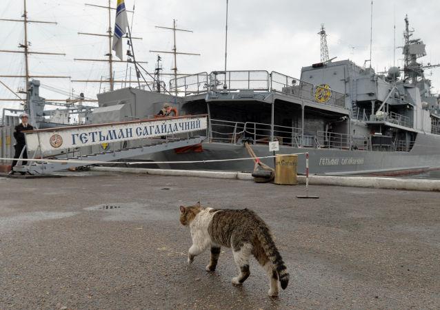 Ukraińska fregata Hetman Sahajdaczny. Zdjęcie archiwalne