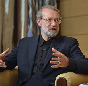 Speaker of the Islamic Consultative Council (parliament) of the Islamic Republic of Iran Ali Larijani during a meeting with Russian President Vladimir Putin following the 12th annual meeting of the Valdai International Discussion Club. File photo