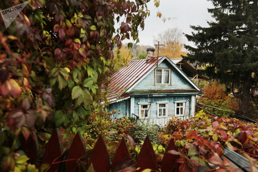 Jesień nad Wołgą w mieście Plos
