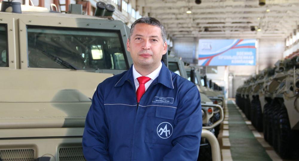 """Dyrektor generalny """"Kompanii Wojskowo-Przemysłowej"""" Aleksander Krasowicki"""