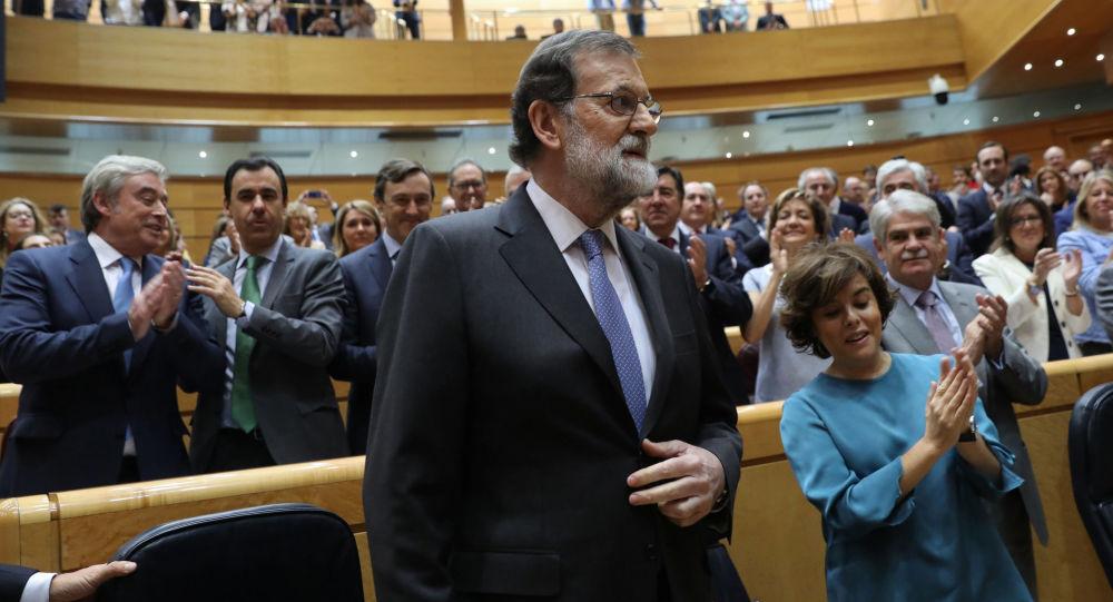 Premier Hiszpanii Mariano Rajoy w hiszpańskim senacie w Madrycie