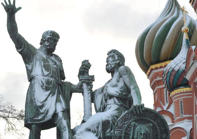 Pomnik Minina i Pożarskiego na Placu Czerwonym w Moskwie