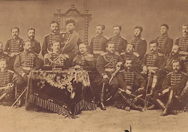 Oficerowie 4 batalionu strzelców gwardii