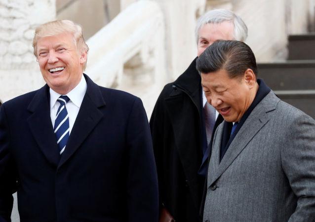 Prezydent USA Donald Trump i przewodniczący Chin Xi Jinping w Zakazanym Mieście w Pekinie