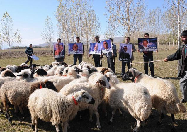 Mieszkańcy tureckiej wsi z portretami Obamy