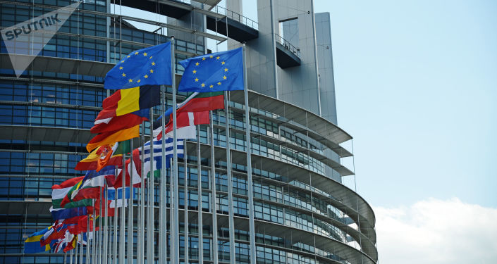 Flagi na tle budynku Parlamentu Europejskiego w Strasburgu. Zdjęcie archiwalne