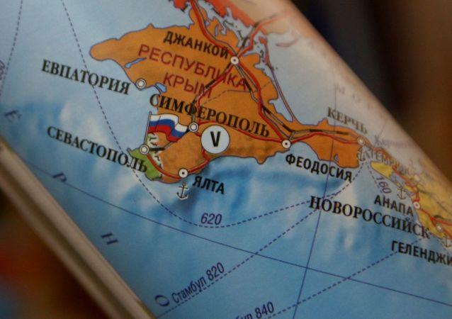 Mapa polityczna Europy, na której Republika Krymu stanowi część Rosji